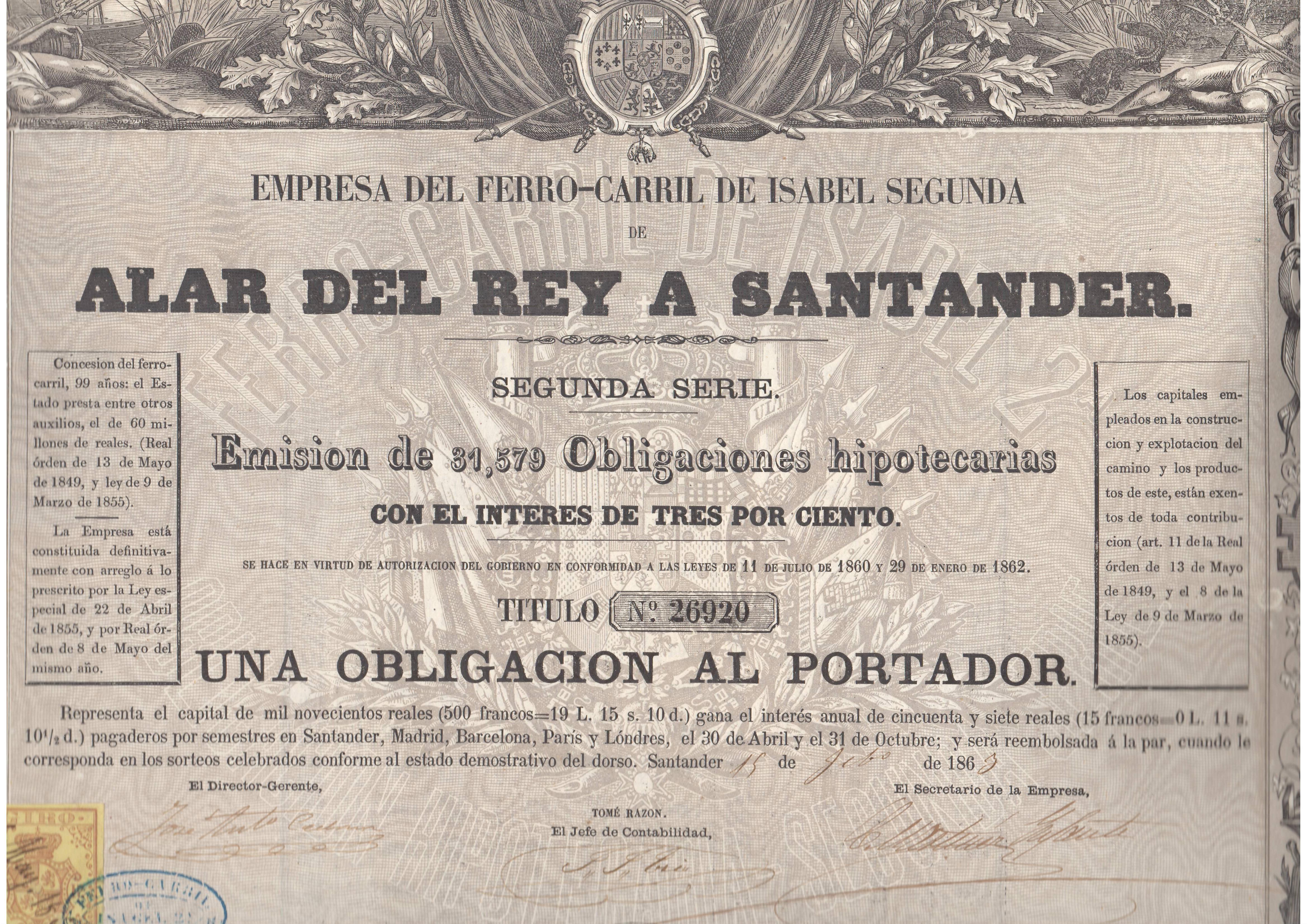 Empresa del Ferrocarril de Isabel Segunda de Alar del Rey a Santander