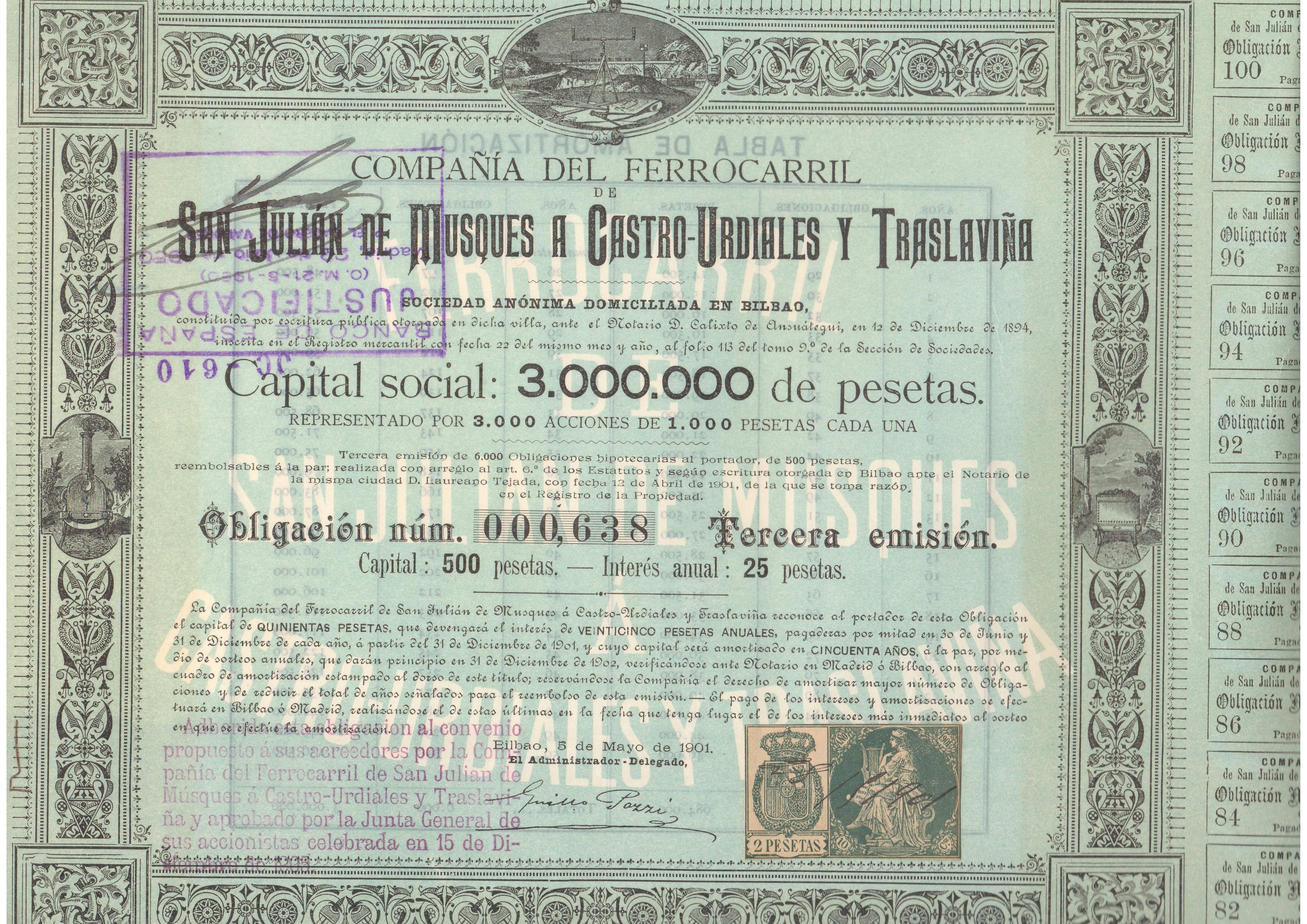 Compañía del Ferrocarril de San Julián de Musques a Castro-Urdiales y Traslaviña
