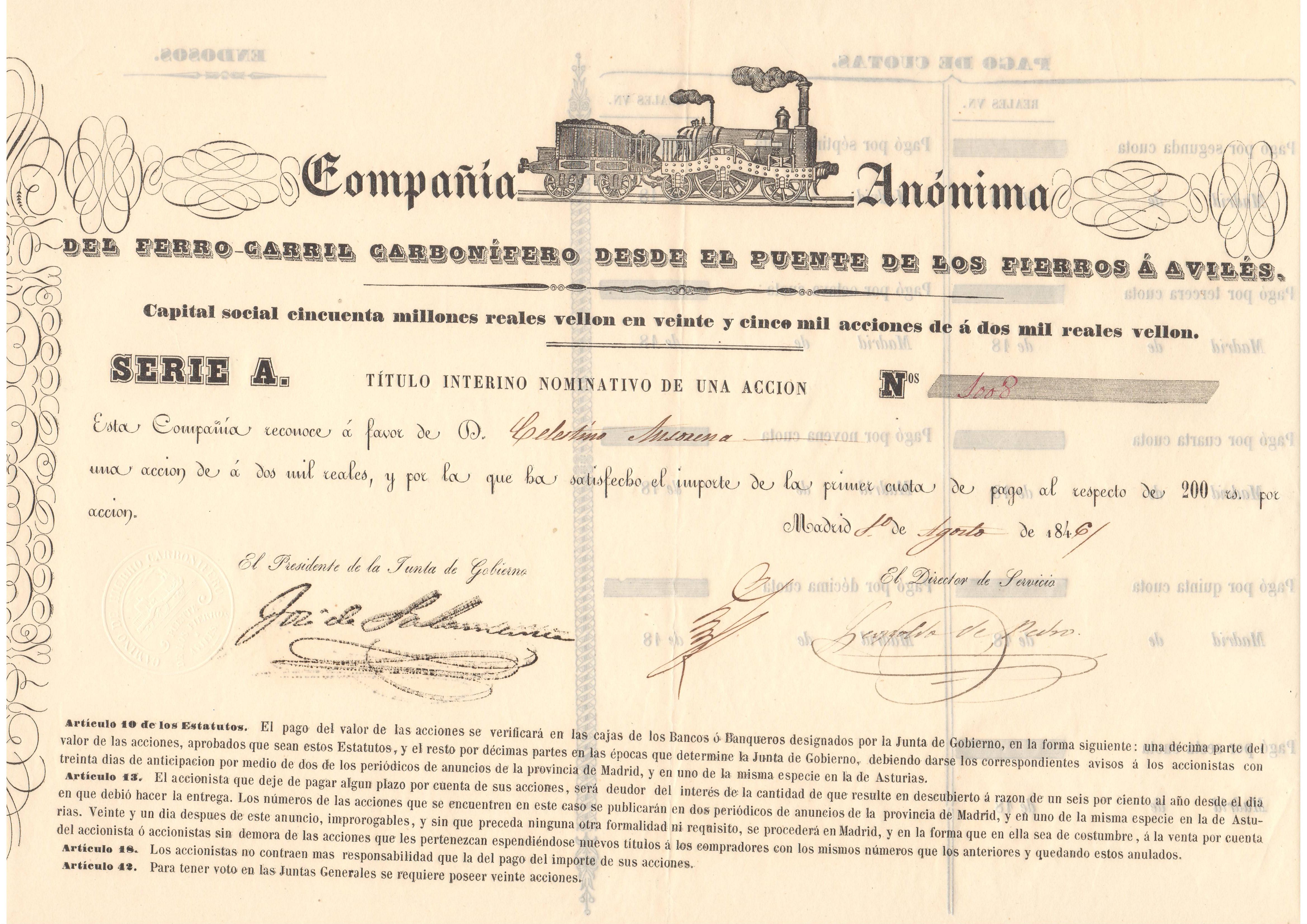 Compañía Anónima del Ferrocarril Carbonífero desde el Puente de Los Fierros a Avilés
