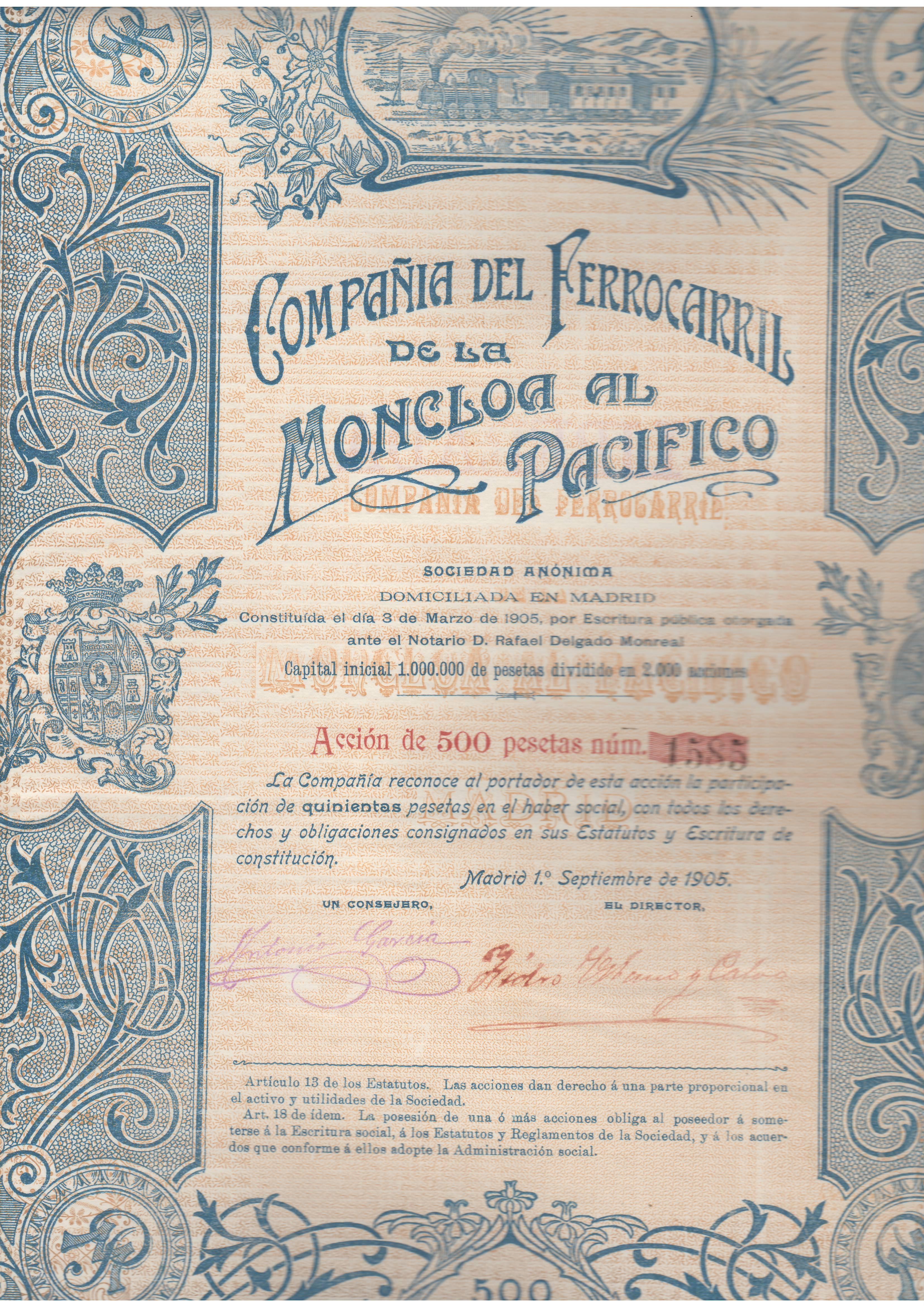 Compañía del Ferrocarril de la Moncloa al Pacífico.